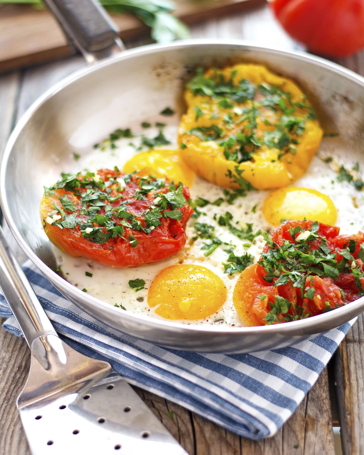 Sunny-Side Up Eggs with Provencal Tomatoes