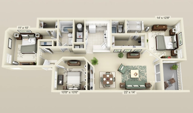 3-bedroom 3D Minimalist House Plan