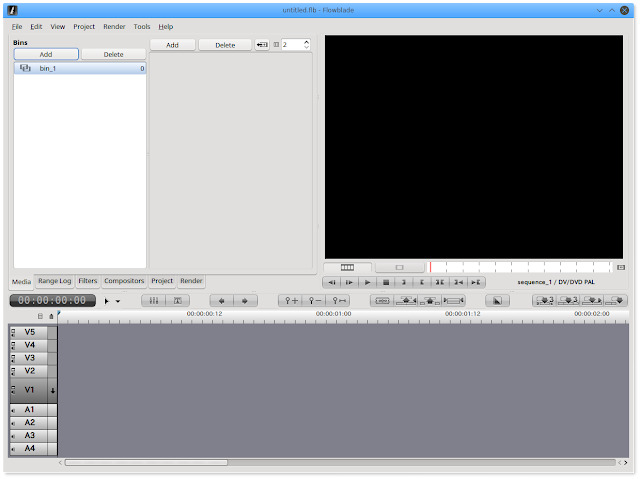 Flowblade Movie Editorを起動。キャプチャーしたゲーム動画をLinux Netrunner 17で編集