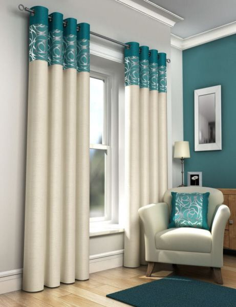 modern white curtains with turquoise accent
