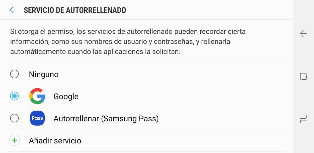Servicio de autorrellenado para Android