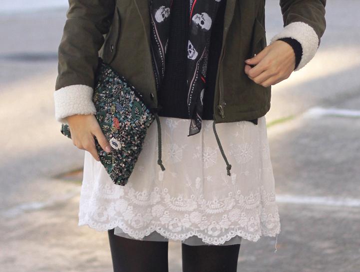 Vestido blanco bolso lentejuelas