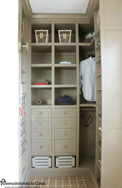 boy room closet transformation with gray built ins for lots of storage