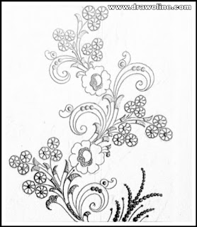 Pencil sketch flowers design drawings on paper for machine and hand embrodiary saree design/saree designs patterns drawings.