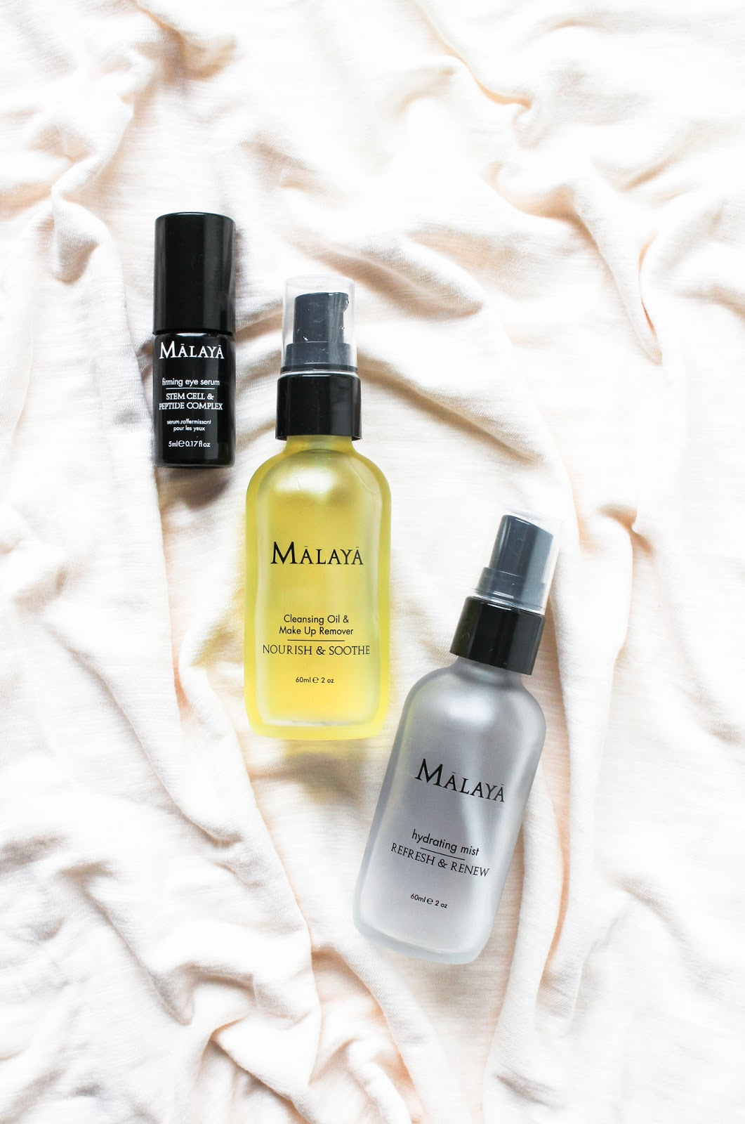 Malaya Organics Hydrating Mist Refresh and renew, Cleansing oil and makeup remover Nourish and Soothe, Firming Eye Serum Stem Cell and Peptide Complex