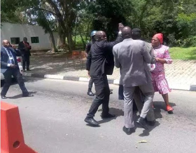 Oby Ezekwesili Assaulted By Security Officials During Lone Protest At Aso Rock Gate (Photos)