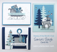 Stampin' Up! Santa's Sleigh Christmas Card Kit #stampinup 2016 Holiday Catalog www.juliedavison.com October 2016 Stamp of the Month Club Card Kit