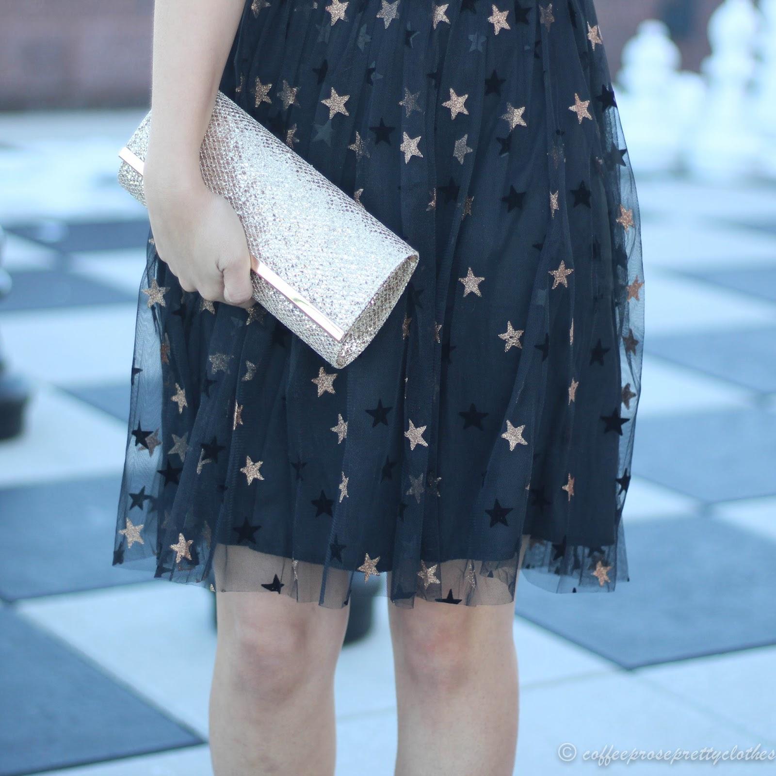 New Look Star Mesh Skater Dress ASOS, glitter heels, glitter clutch, NYE Outift