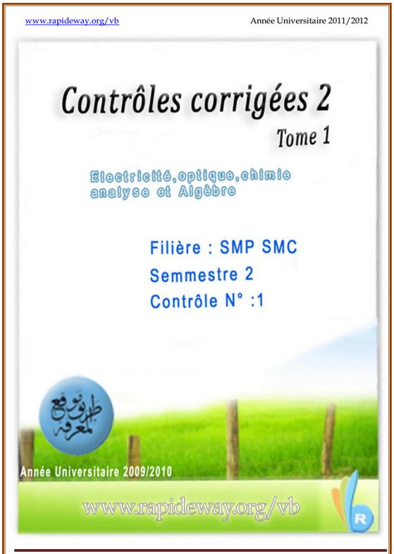 Contrôles corrigés SMPC S2