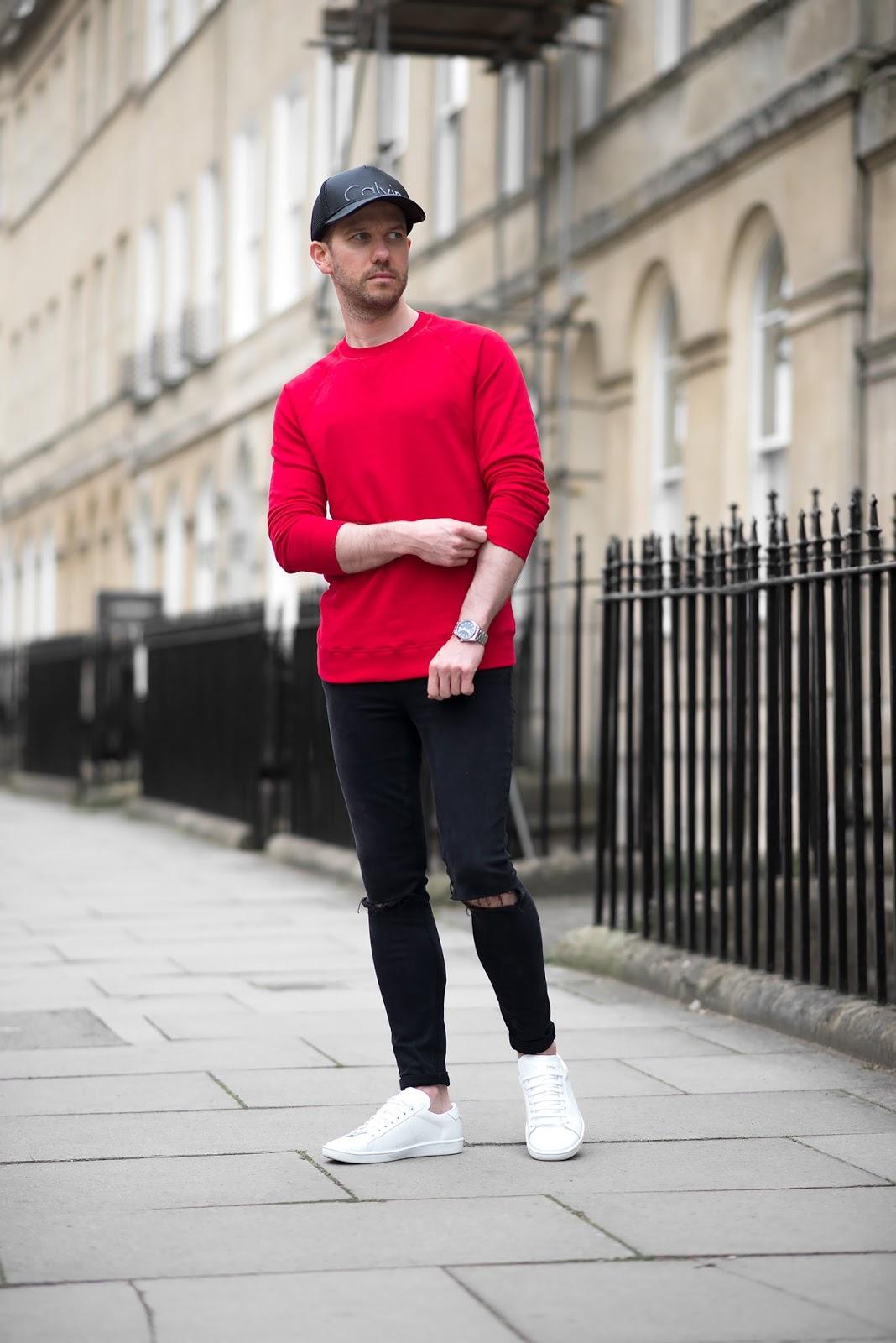 look masculino vermelho e preto tendencia 2018