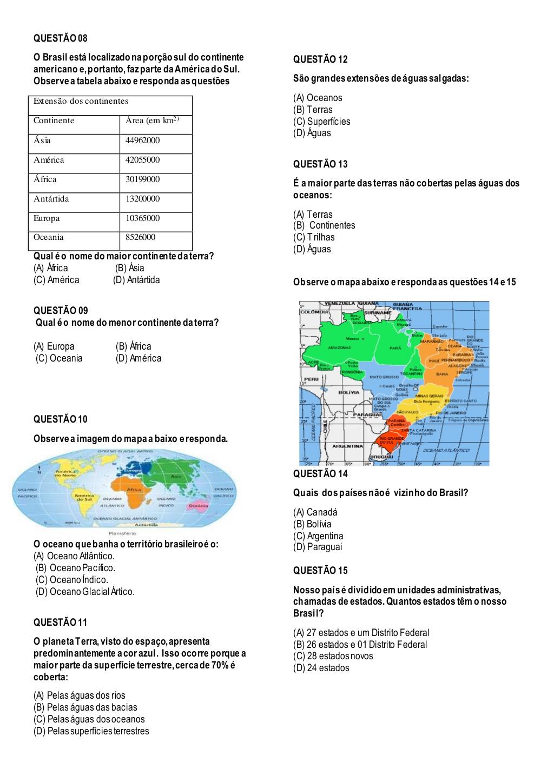 Avaliação de Geografia 5o Ano para Imprimir