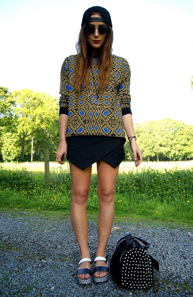 eef9cc3b804d1 Cap- H&M. Jumper- Zara. Necklace- Topshop. Skort- Zara. Shoes- Zara. Bag-  Zara.