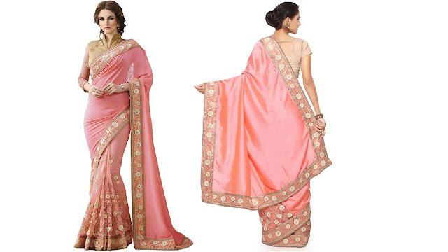 Saara Embroidered Fashion Silk, Net Saree  (Pink)