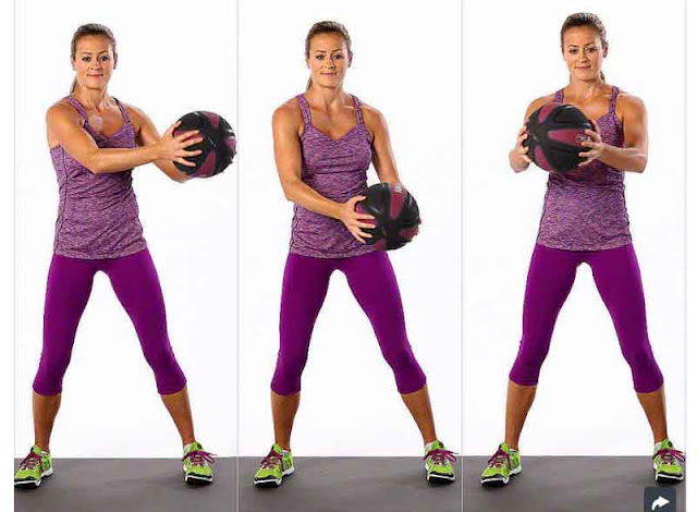 Popsugar doing abs exercises with medicine ball