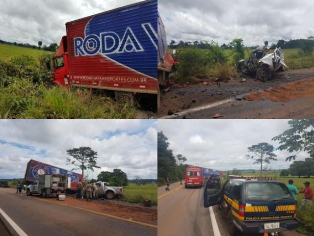 Caminhão-baú e caminhonete se chocam violentamente na BR 364 e motorista morre na hora!