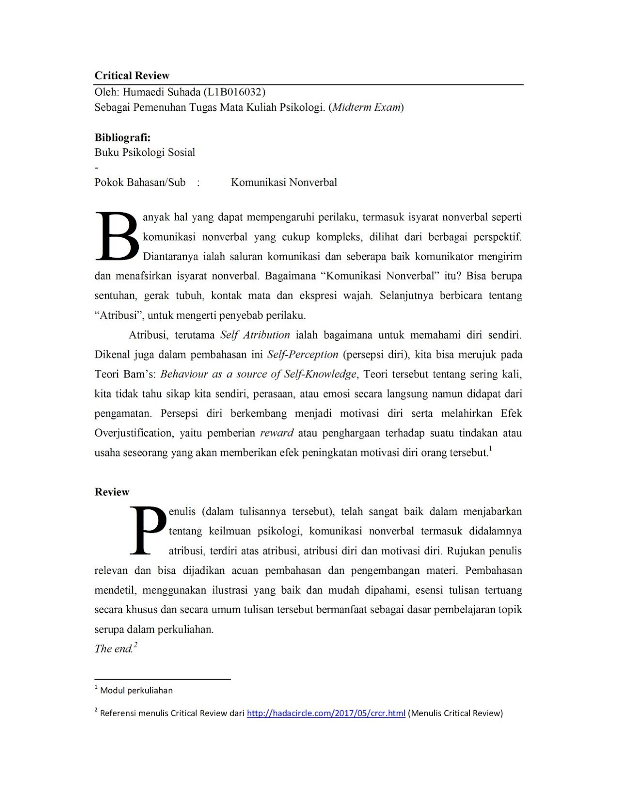 Critical Review: Komunikasi Nonverbal (Psikologi Sosial)