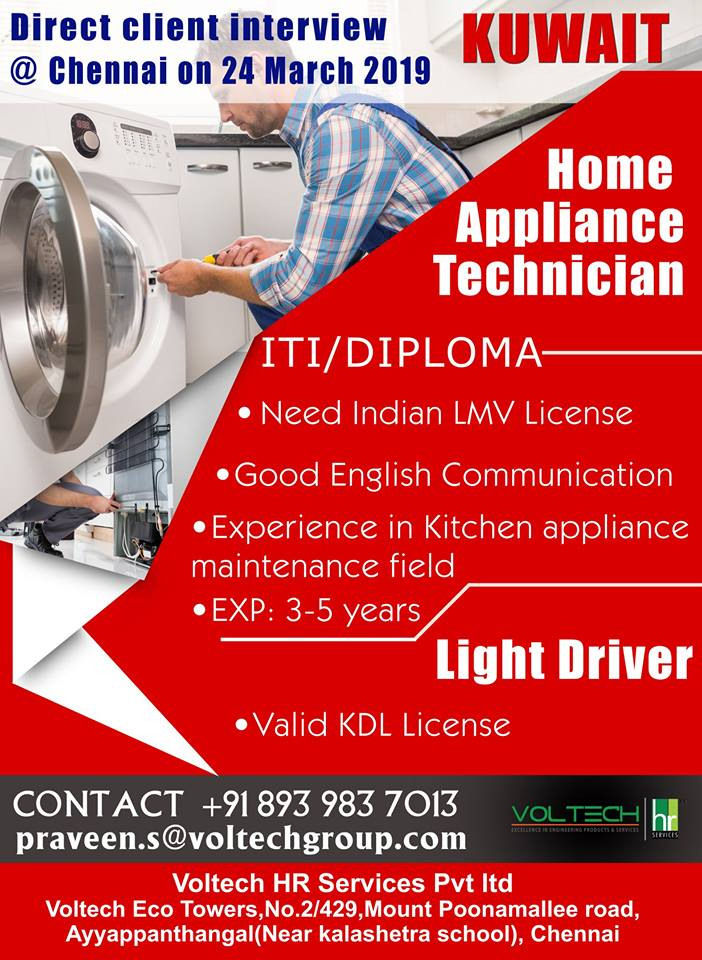 Jobs for Kuwait-Techinicians-Light Driver-Direct Client Interview on