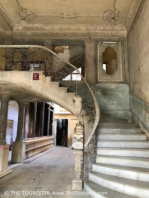 The staircase that leads to the restaurant La Guarida in Havana in Cuba