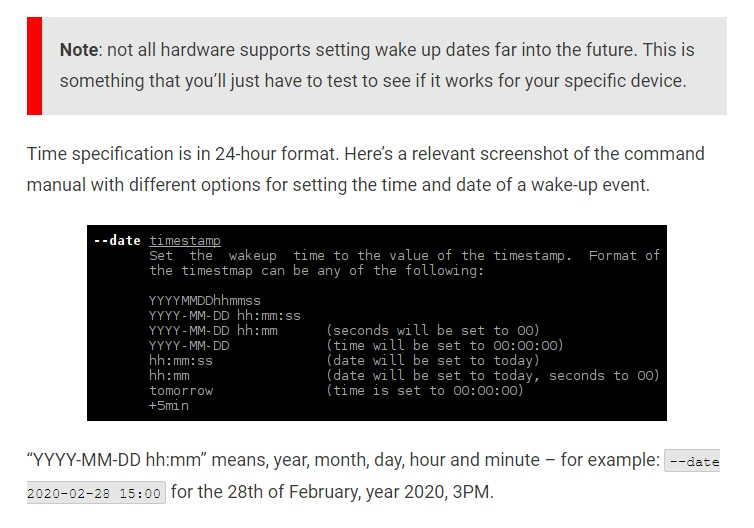 Set Alarm to Automatically Power On Linux Computer - Tectuner
