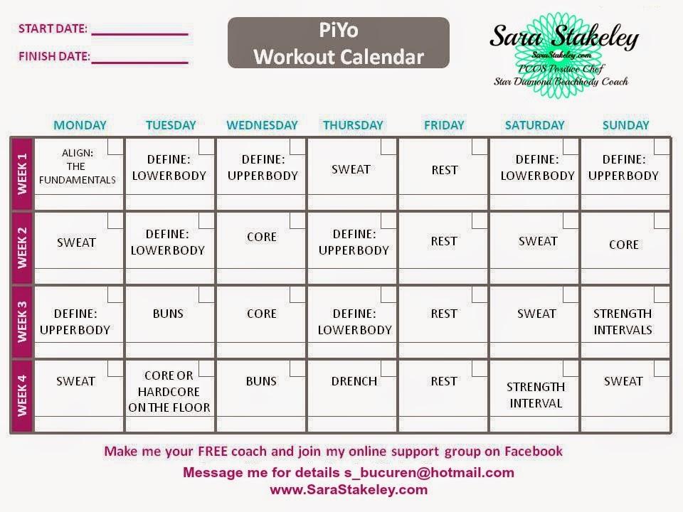 Workout Calendar Ilates : Sara stakeley piyo week one set up and meal plan