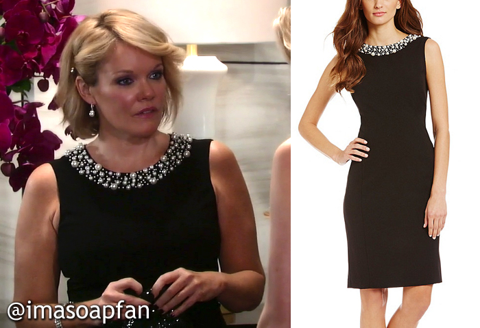 b6ce1d3b700 ... sheath dress embellished at the neckline with pearl beads of different  sizes. Ava s LBD is by Calvin Klein