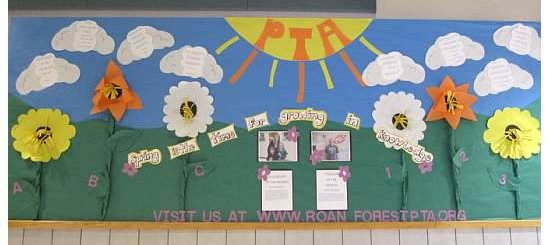 Sring PTA bulletin board idea Sring Floral