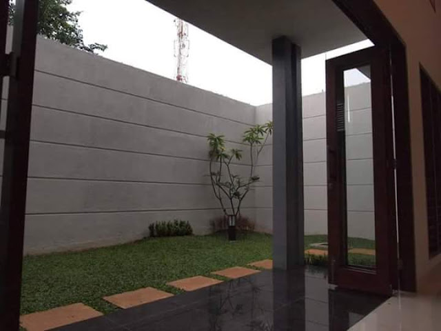 Taman Rumah Minimalis belakang rumah berumput