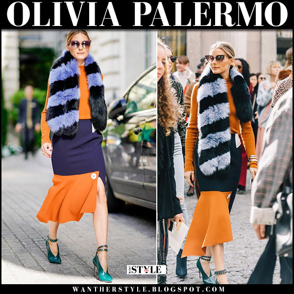 Olivia Palermo with purple black striped fur scarf and orange blue midi skirt at Paris Fashion Week october 3 2017 front row fashion
