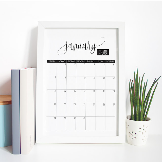 Print at Home Monthly Calendar for 2018.  Instand Download Printable by Mum and Me Handmade Designs