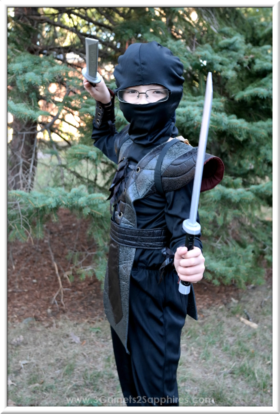 Fun Ninja Fighter Leather Boys Halloween Costume  |  3 Garnets & 2 Sapphires