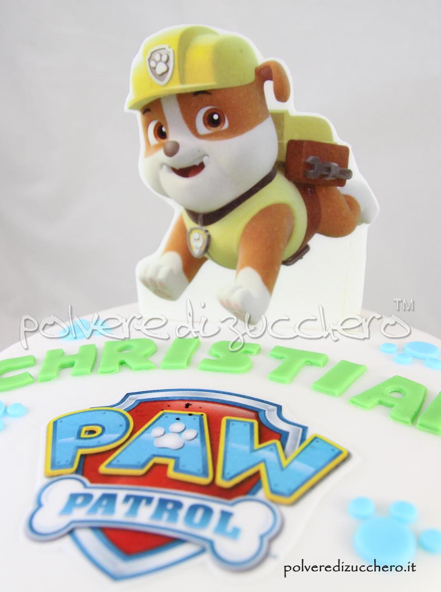 cake design paw patrol torta decorata rubble polvere di zucchero compleanno