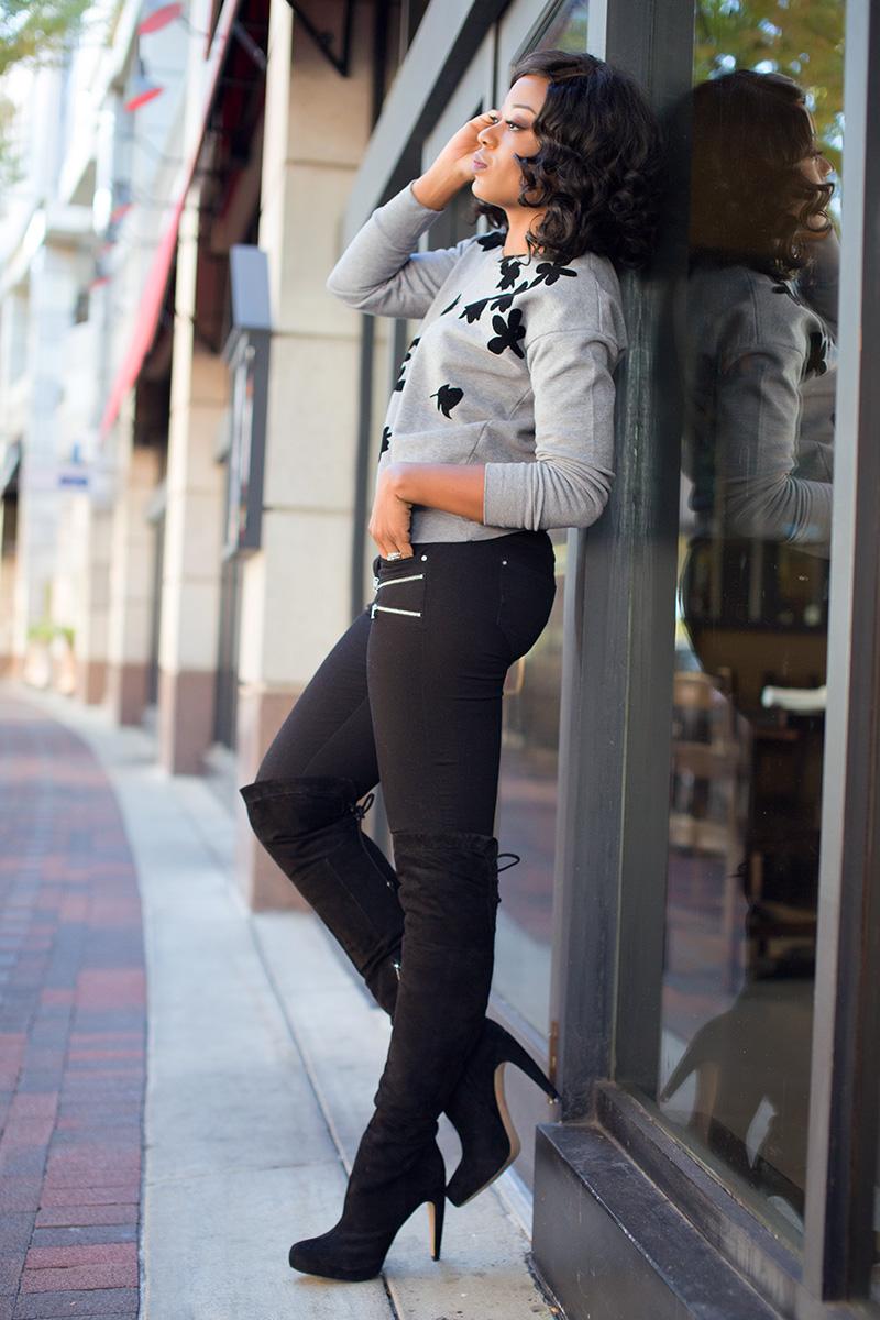 casual style, Jcrew sweater, sam edelman over the knee boot, www.jadore-fashion.com