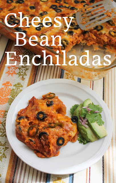 Food Lust People Love: These cheesy bean enchiladas made with pintos and refried beans are flavorful and easy to put together. They make a great vegetarian main course to serve for your Cinco de Mayo celebrations or pretty much any day of the year.