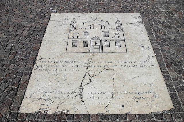 Plaque to the destroyed church of Santa Lucia, Venice