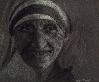 A Charcoal portrait study work of Mother Teresa on toned paper by Manju Panchal