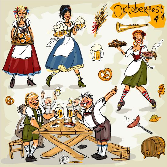 "Fiesta de octubre de la cerveza ""Oktoberfest"" - Vector"