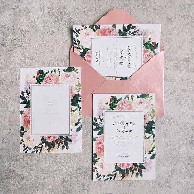 Floral Bloom Wedding Invitation Cards Kuala Lumpur Malaysia, Singapore