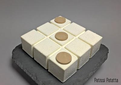 entremet banoffee, banoffee autrement, mousse caramel, ganache montée au chocolat blanc, confit de bananes, entremet velours blanc, dessert tendance, pâtisserie, banoffee cake, patissi-patatta