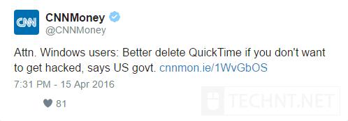 تحذير : ضرورة إزالة برنامج QuickTime على نظام الويندوز - التقنية نت - technt.net