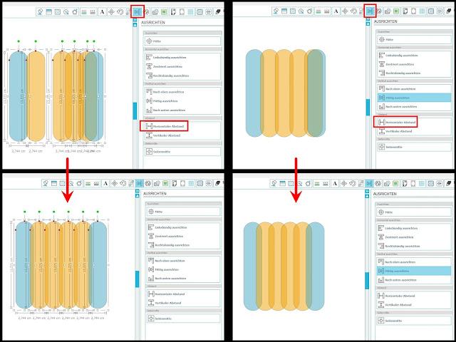 Schema aus 4 Screenshots zum Anordnen in gleichen Abständen