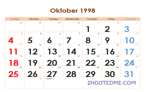 Kalender 1998 Masehi Bulan Oktober