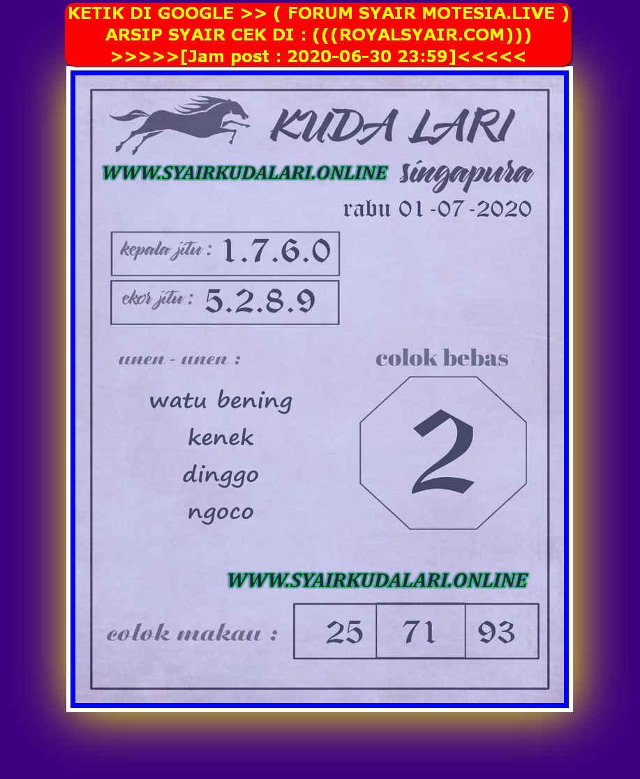 Kode syair Singapore Rabu 1 Juli 2020 246