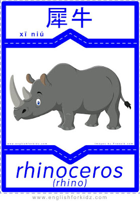 Rhino - English-Chinese flashcard to learn names of African animals