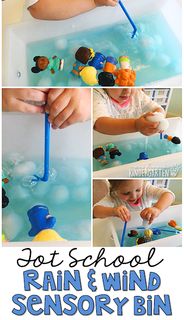 We LOVE blowing bubbles and exploring with this rain & wind sensory bin. Great for tot school, preschool, or even kindergarten!