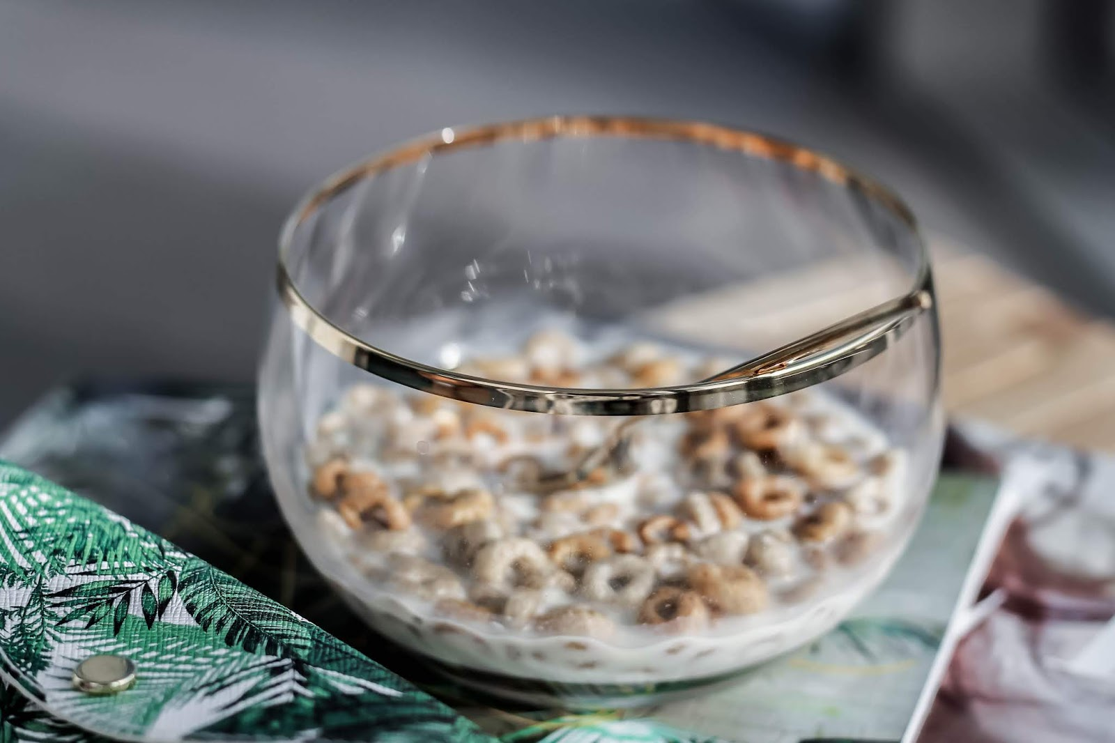 Luxury Glass Gold Rim Cereal Bowl