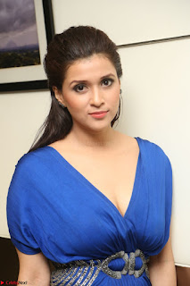 Mannara Chopra in Short Blue Dress at Rogue Movie Teaser Launch 1st March 2017 086.JPG