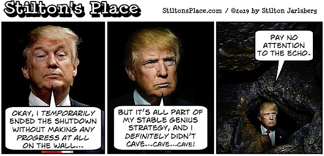 stilton's place, stilton, political, humor, conservative, cartoons, jokes, hope n' change, trump, wall, shutdown, cave, ramen, democrats