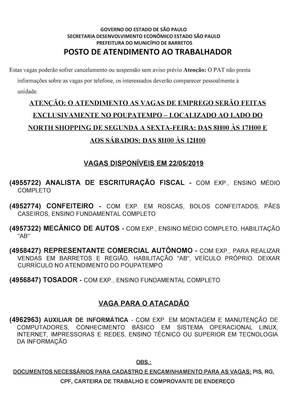 VAGAS DE EMPREGO DO PAT BARRETOS-SP PARA 22/05/2019 QUARTA-FEIRA