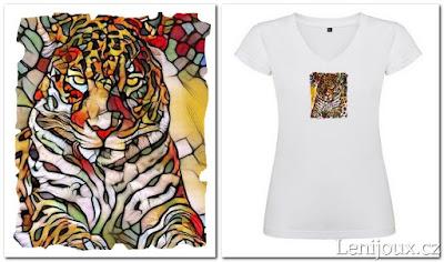 Jaguár - dámské tričko s potiskem v mozaikovém stylu