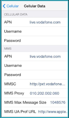 New Vodafone apn settings iPhone